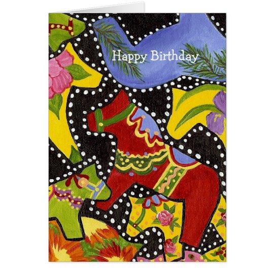 Dancing Dala Horses Birthday  Card