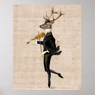 Dancing Deer with Violin Poster