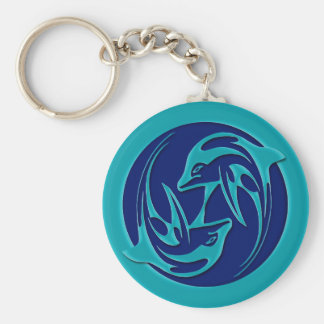 Dancing Dolphins Basic Round Button Keychain