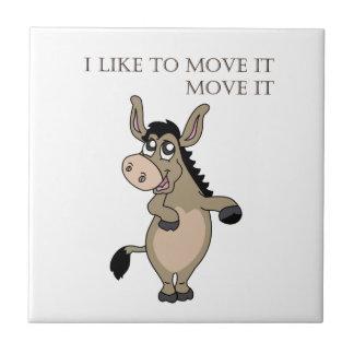 Dancing donkey ceramic tile