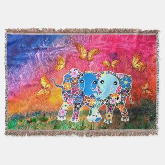 Dancing Elephants Throw Blanket