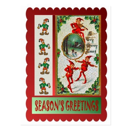 Dancing elves postcard