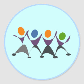 Dancing/Exercising People Classic Round Sticker