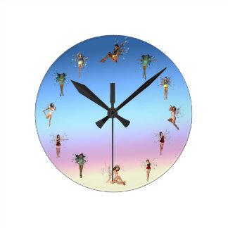 Dancing Fairies Round Clock