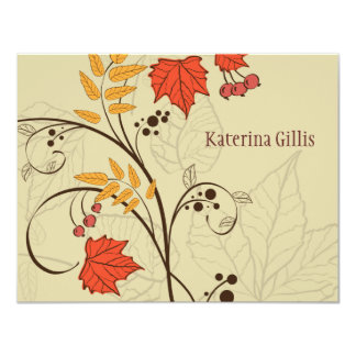 Dancing Fall Leaves Personalized Notecard