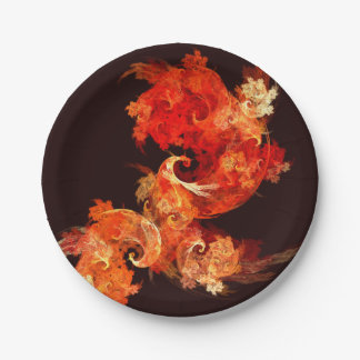 Dancing Firebirds Abstract Art 7 Inch Paper Plate