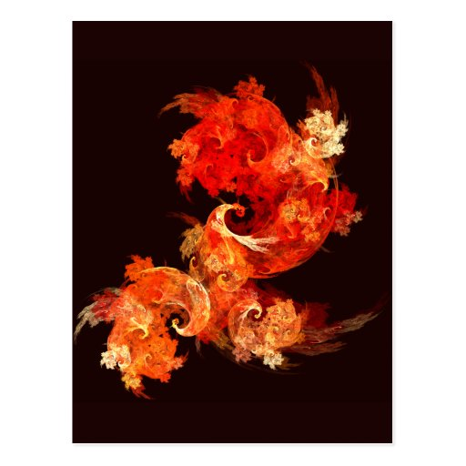 Dancing Firebirds Abstract Art Postcard