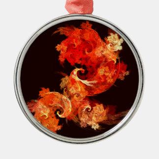 Dancing Firebirds Abstract Art Round Metal Ornament