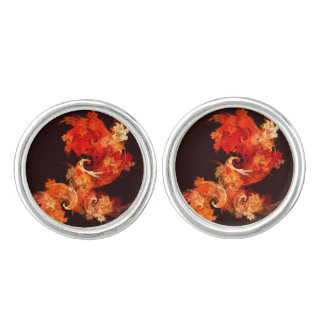 Dancing Firebirds Abstract Art Silver Plated Cuff Links
