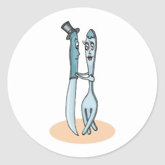dancing fork and knife round sticker