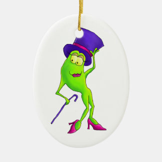 Dancing Frog with a Purple Hat Musical Theater Christmas Tree Ornaments