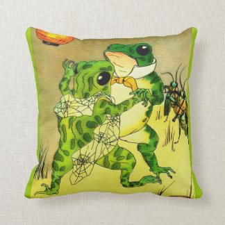 Dancing Frogs Throw Pillow