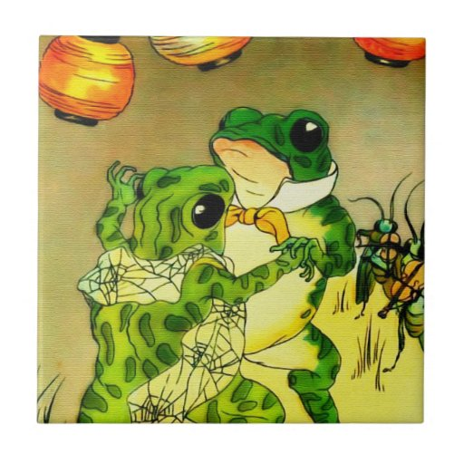 Dancing Frogs Ceramic Tile
