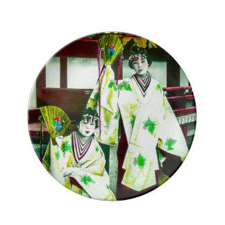 Dancing Geisha In Old Japan Vintage Japanese Plate