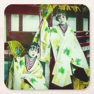 Dancing Geisha In Old Japan Vintage Japanese Square Paper Coaster
