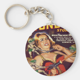Dancing Girl and Evil Imps Basic Round Button Keychain