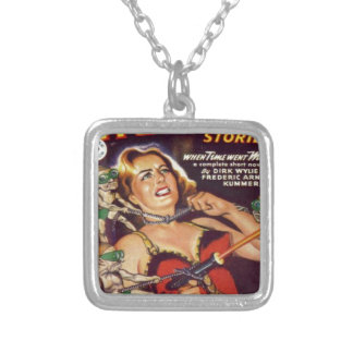 Dancing Girl and Evil Imps Silver Plated Necklace