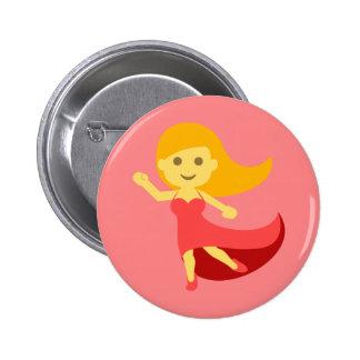 Dancing Girl Emoji 2 Inch Round Button