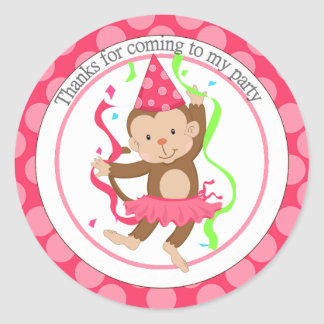 Dancing Girl Monkey Birthday Thank You Classic Round Sticker
