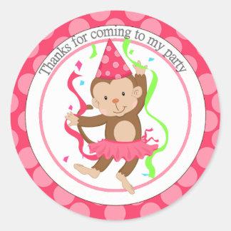 Dancing Girl Monkey Birthday Thank You Round Sticker