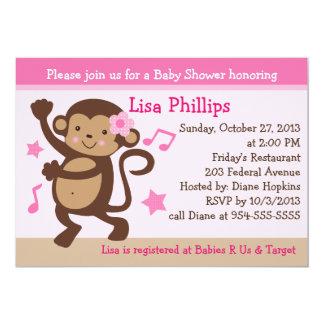 Dancing Girl Monkey Rocker Baby Shower Invitation