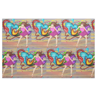 Dancing Girl Music Graffiti Wall Fabric