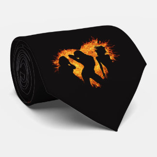 Dancing Girls With Heart on Fire Necktie