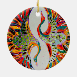 dancing goose by only Franklin Round Ceramic Ornament