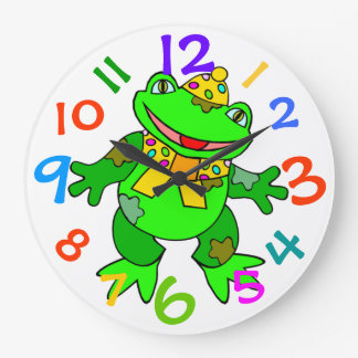 Dancing Green Frog Kids Clock Colorful Numbers