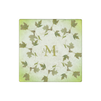 Dancing Green Maple Leaves Monogram Stone Magnet