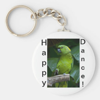 Dancing Green Parrot Basic Round Button Keychain