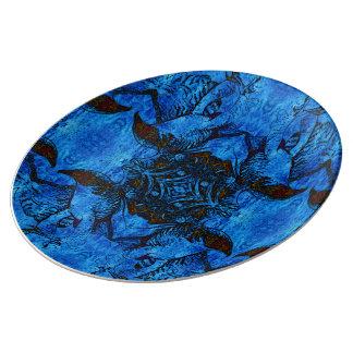 Dancing Hawk Mandala Porcelain Plate