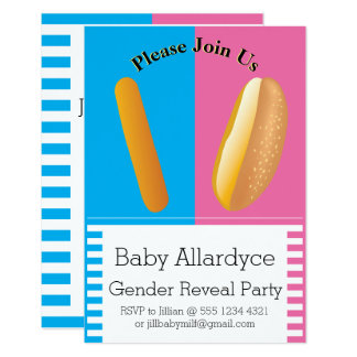 Dancing Hot Dog and Bun Gender Reveal Baby Shower Card