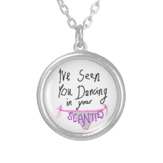 Dancing in Scanties cute & funny anniversary Silver Plated Necklace