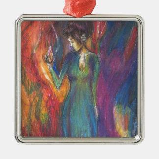 Dancing In the Light of Heartbreak Silver-Colored Square Ornament