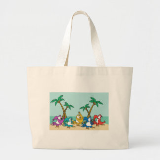 Dancing Island Parrots Large Tote Bag