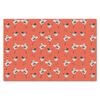 Dancing Japanese Cranes Tissue Rouge Tissue Paper