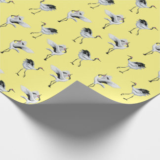 Dancing Japanese Cranes Wrapping Paper Pale Yellow