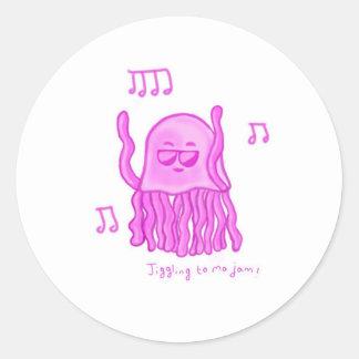 Dancing Jellyfish Classic Round Sticker
