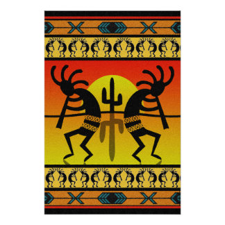 Dancing Kokopelli Tribal Wall Art Perfect Poster