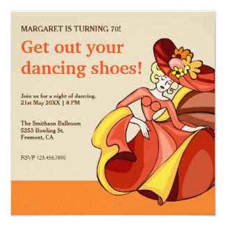 Dancing Lady | Orange Dance Night Birthday Party Card