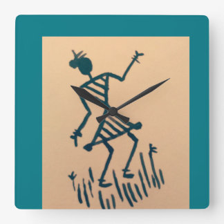 dancing Lady under the cozy sky Square Wall Clock