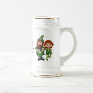 Dancing Leprecauns Pixel Art St. Patrick's Day Beer Stein
