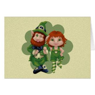 Dancing Leprecauns Pixel Art St. Patrick's Day Note Card