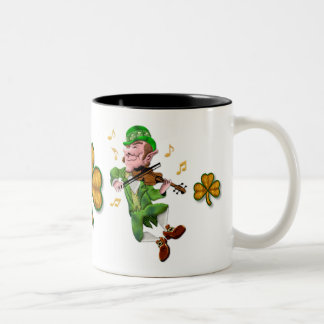 Dancing Leprechauun Two-Tone Coffee Mug