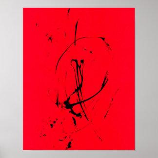 Dancing Line Spontaneous Abstract on Crimson Poster