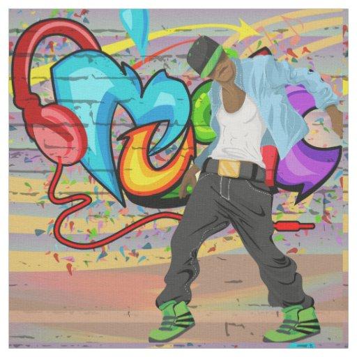 Dancing Man 2 Music Graffiti Wall Fabric