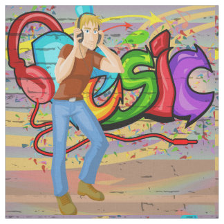 Dancing Man Music Graffiti Wall Fabric