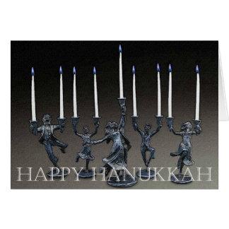 Dancing Menorah Hanukkah Card