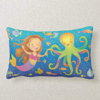Dancing Mermaid and Octopus Throw Pillow